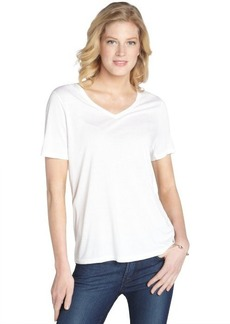 Three Dots white stretch v-neck short sleeve top