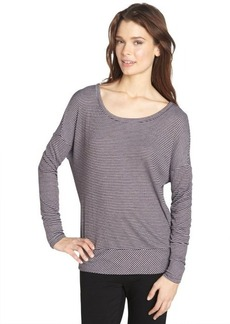 Three Dots wine stretch striped pattern long sleeve relaxed tee