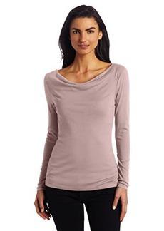 Three Dots Women's 1X1 Long Sleeve Cowl Neck Top