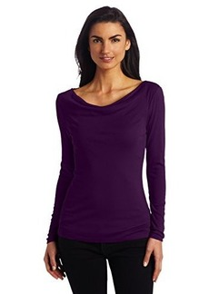 Three Dots Women's 1X1 Long Sleeve Cowl Neck Top