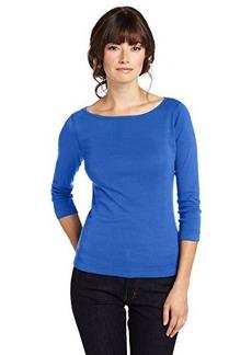Three Dots Women's 3/4 Sleeve British Boatneck Tee Shirt