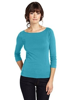 Three Dots Women's 3/4 Sleeve British Boatneck Tee Shirt
