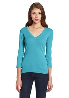 Three Dots Women's 3/4 Sleeve Deep V Neck Tee