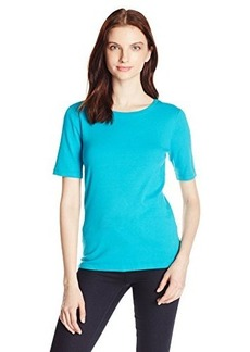 Three Dots Women's 9 Inch Sleeve Crew