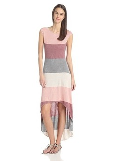 Three Dots Women's Boatneck Color-Block High/Low Maxi Dress