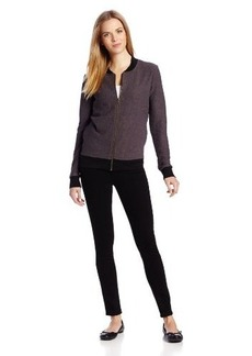 Three Dots Women's Long Sleeve Bomber Jacket with Pockets