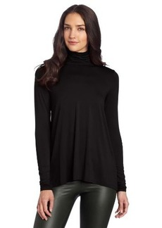 Three Dots Women's Long Sleeve High Low Turtleneck Shirt