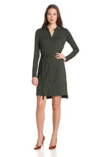 Three Dots Women's Long Sleeve Shirt Dress with Tie