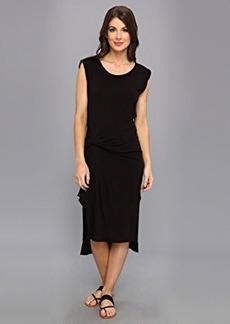 Three Dots Women's Pleat Draped Detail Midi Dress with Slits and Cuffs