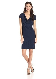 Three Dots Women's Short Sleeve Cowl Dress