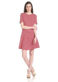 Three Dots Women's Short-Sleeve Red Stripe Fit-and-Flare Dress