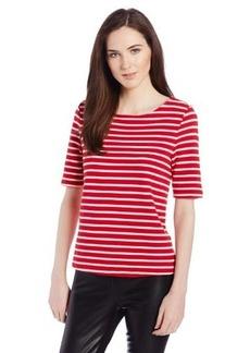 Three Dots Women's Short Sleeve Stripe Top with Zipper Back Detail