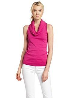 Three Dots Women's Sleeveless Rolled Cowl Neck Shirt