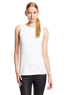 Three Dots Women's Sleeveless Shell Tank with Contrast Back
