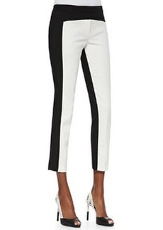 City Stretch Colorblocked Cropped Pants, Black/Ivory   City Stretch Colorblocked Cropped Pants, Black/Ivory