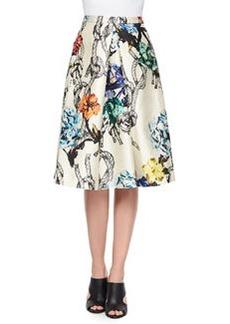 Gazaar Printed Pleated Satin Skirt   Gazaar Printed Pleated Satin Skirt