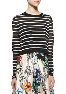 Nautical-Stripe Cropped Pullover Sweater   Nautical-Stripe Cropped Pullover Sweater