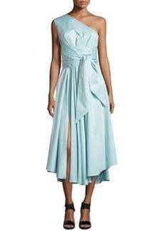 Satin Poplin One-Shoulder Wrap Dress   Satin Poplin One-Shoulder Wrap Dress