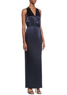 Sleeveless Faux-Wrap Dress, Navy   Sleeveless Faux-Wrap Dress, Navy