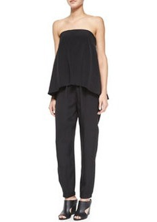 Tibi Strapless Flowy Silk Jumpsuit, Black