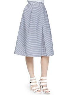 Striped Pleated Shirting Skirt   Striped Pleated Shirting Skirt