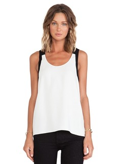 Tibi Arden Crepe Colorblock Tank in White