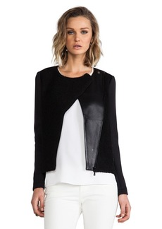 Tibi Boucle Knit and Leather Biker Jacket in Black