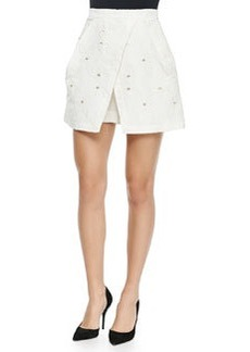 Tibi Brodee Embroidered Faille Shorts