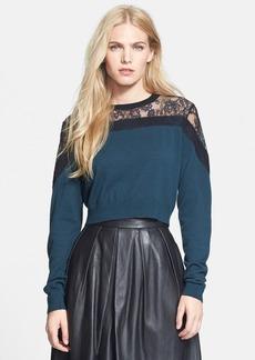 Tibi Chantilly Lace & Merino Wool Sweater