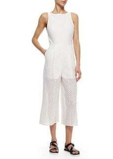 Tibi Chevron-Lace Cropped Jumpsuit