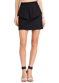 Tibi City Peplum Skirt in Black