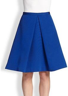Tibi Cotton & Silk Inverted-Pleat Skirt