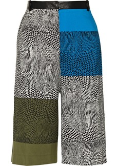 Tibi Cropped cotton and silk-blend wide-leg pants