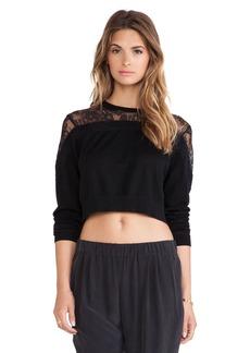 Tibi Cropped Lace Sweater