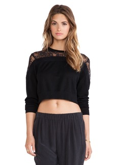 Tibi Cropped Lace Sweater