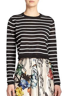 Tibi Cropped Striped Sweater