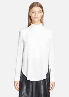 Tibi Double Layer Mock Neck Silk Top