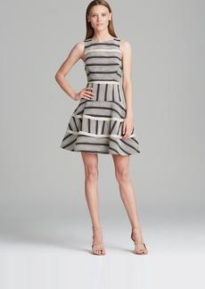 Tibi Dress - Raffia Organza Variegated Stripe