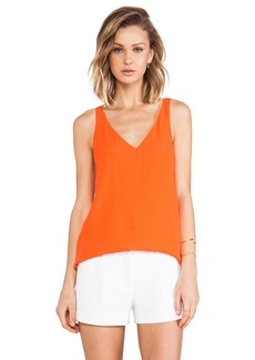 Tibi Dry Crepe Tank in Orange