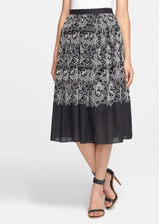 Tibi Embroidered Cotton Skirt