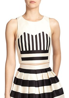 Tibi Escalante Silk Striped-Motif Cropped Top