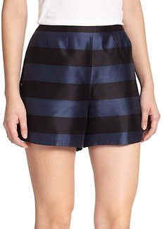 Tibi Escalante Striped Silk Shorts