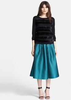 Tibi Faux Fur Stripe Merino Wool Pullover