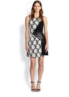 Tibi Faux Leather-Paneled Asymmetrical Mixed-Pattern Dress