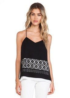 Tibi Fleur Cut Out Double Layered Tank in Black