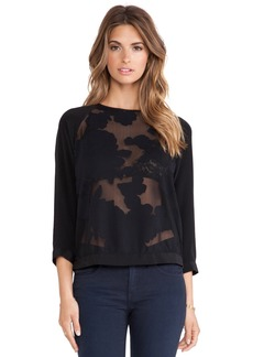 Tibi Floral Burnout Blouse