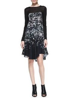 Tibi Floral Fields Long-Sleeve Ruffled Asymmetric Dress
