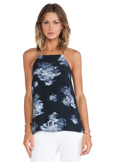 Tibi Floral Square Neck Cami in Black