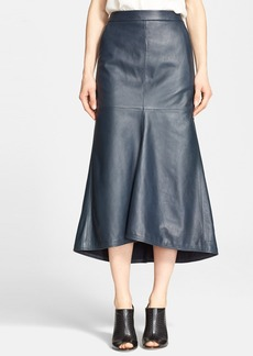 Tibi Fluted Leather Midi Skirt