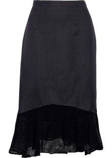 Tibi Fog mesh-trimmed woven skirt